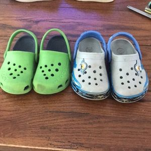 Two pairs crocs size 7 toddler
